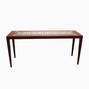 Tavolino in palissandro con mattonelle di Severin Hansen per Haslev Møbelsnedkeri, anni '60