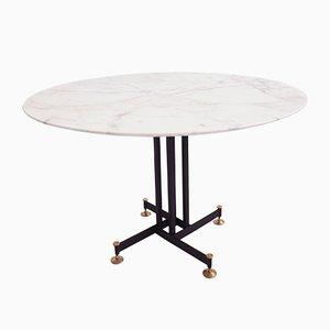 Mesa de comedor italiana de mármol de Calacatta de Ignazio Gardella, años 50