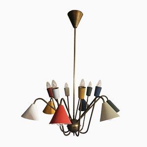 Lámpara de araña Atomic italiana con 12 luces, años 50