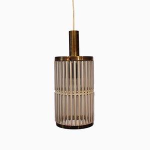 Lampada a sospensione vintage in vetro e ottone, anni '70
