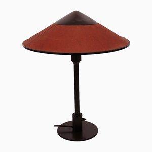 Lámpara de mesa Kongelys de latón bruñido con pantalla en ámbar de Fog & Mørup, años 30