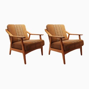 Oak Lounge Chairs by H. Brockmann Pedersen, 1960s, Set of 2