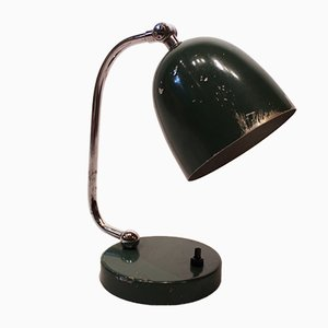 Lámpara de mesa danesa vintage en verde oscuro, años 60