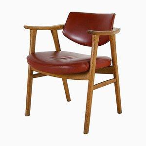 Chaise de Bureau Modèle 53 en Chêne et Cuir par Erik Kirkegaard pour Høng Stolefabrik, Danemark, 1960s