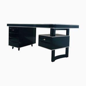 High Gloss Black Bauhaus Style Desk, 1950s