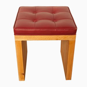 Red Leather and Oak Stool, 1980s