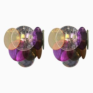 Multicolored Murano Glass Sconces from Vistosi, 1970s, Set of 2