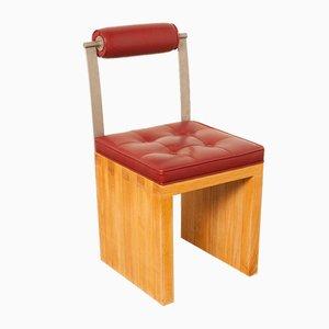 Chaise en Cuir Rouge et Chêne, 1980s