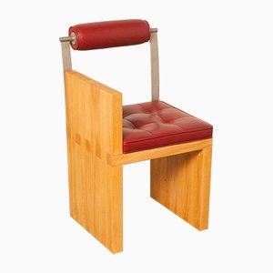 Stuhl mit rotem Ledersitz & Gestell aus Eiche, 1980er
