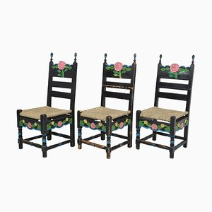 Sicilian Painted Rustic Chairs, 1950s, Set of 6
