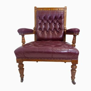 Antique Victorian Ox Blood Leather & Oak Armchair, 1800s
