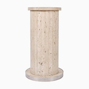 Circular Italian Travertine Pedestal, 1970s