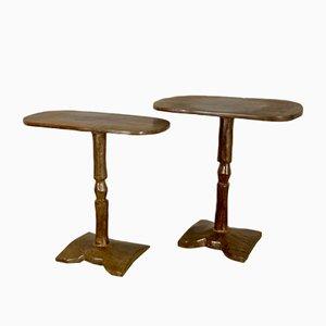 Mesas auxiliares africanas vintage, años 50. Juego de 2