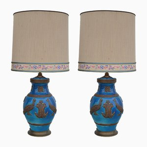 Ceramic Peacock Table Lamps, 1960s, Set of 2