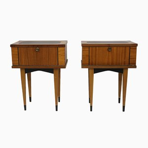 Vintage Wooden Bedside Tables, 1950s, Set of 2