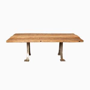 Mesa de trabajo de madera reciclada, años 50