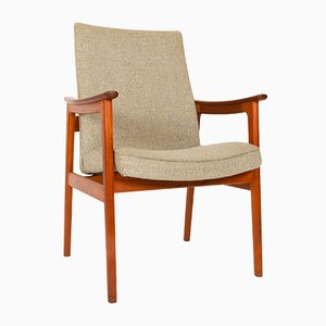 Vintage Danish Teak and Wool Armchair by Erik Kirkegaard for Høng Stolefabrik, 1960s