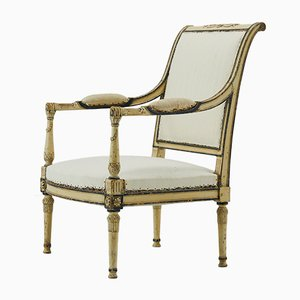 Antique French Painted Armchairs, Set of 2