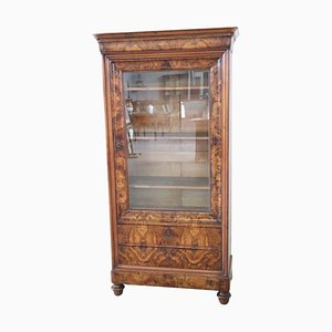 Librería o vitrina antigua de nogal, década de 1850