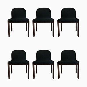 Esszimmerstühle mit petrolblauem Samtbezug & Gestell aus Nussholz von Tobia & Afra Scarpa für Cassina, 1970er, 6er Set