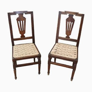 Chaises Antique en Noyer, 1780s, Set de 2
