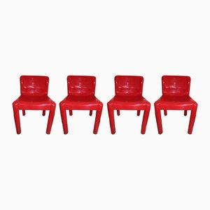 Chaises Modèle 4875 Rouges par Carlo Bartoli pour Kartell, 1970s, Set de 4