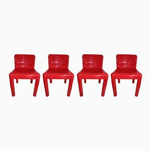 Rote Modell 4875 Stühle von Carlo Bartoli für Kartell, 1970er, 4er Set