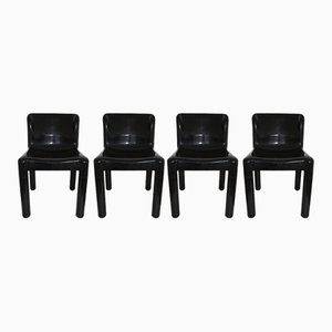 Black Model 4875 Chairs by Carlo Bartoli for Kartell, 1970s, Set of 4
