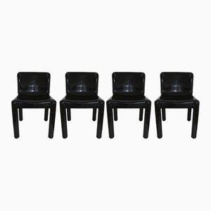 Chaises Modèle 4875 Noires par Carlo Bartoli pour Kartell, 1970s, Set de 4