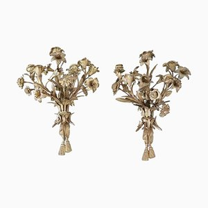 Portacandela a cinque braccia Art Nouveau in bronzo dorato, set di 2