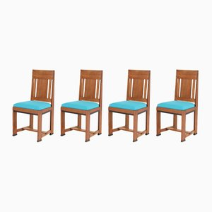 Art Deco Haagse School Oak Chairs by Jan Brunott, 1920s, Set of 4