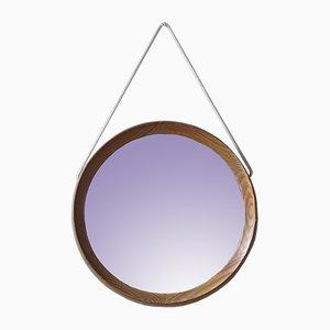 Specchio da parete vintage in pino, anni '70