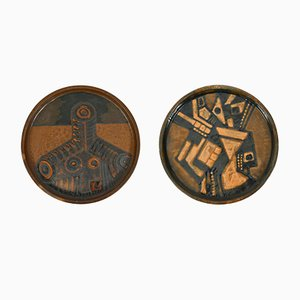 Cubist Ceramic Wall Plates by Noguera, 1970s, Set of 2