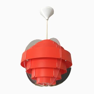 Vintage Red Plastic Suspension Lamp, 1970s
