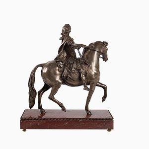 Antique Louis XIV Marble, Cherrywood, Silver & Bronze Sculpture