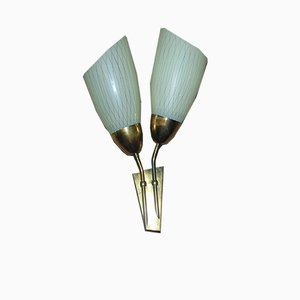 Vintage Glass Wall Lamp, 1960s