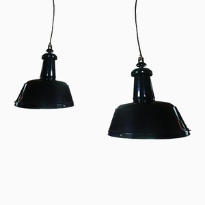 Industrial German Enamel Ceiling Lamps from Ebolicht, 1990s, Set of 2