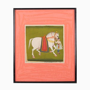 Antique Indian Gouache Posters with Horsemen and Horses, Set of 2