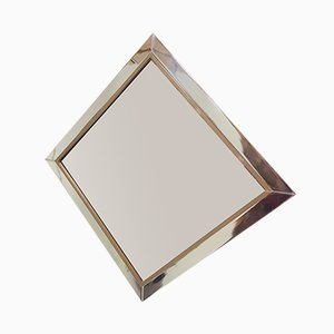 Chromed Metal, Copper & Brown Smoked Glass Mirror from Belgo Chrom, 1980s