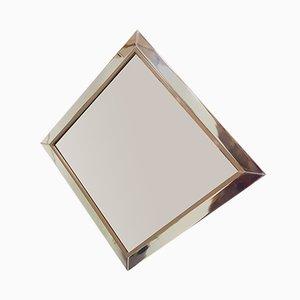 Espejo de vidrio ahumado marrón y metal cromado de Belgo Chrom, años 80