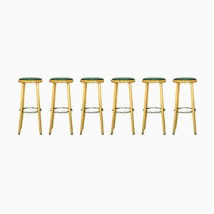 Mid-Century Beech, Chrome & Leather Bar Stools, 1970s, Set of 6
