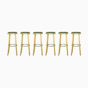 Tabourets de Bar Mid-Century en Hêtre, Chrome et Cuir, 1970s, Set de 6