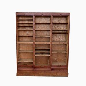 Vintage Oak Tambour Shelving Cabinet, 1950s