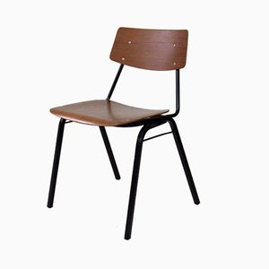 Vintage Industrial Plywood Stacking School Chairs, 1960s, Set of 4