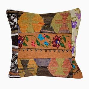 Federa Kilim in tessuto patchwork multicolore di Vintage Pillow Store Contemporary