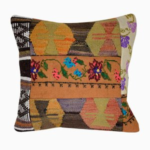 Multi Color Turkish Patchwork Kilim Pillow Cover from Vintage Pillow Store Contemporary