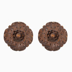 19th Century Carved Wood Decorations, Set of 2