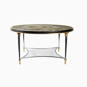 18th-Century Scaola Coffee Table with Slate Bottom & Steel Base by Jansen