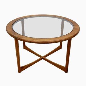 Mesa de centro Mid-Century redonda de teca y vidrio, años 70