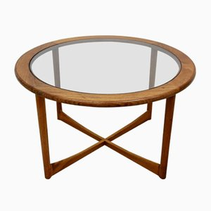 Mid-Century Round Teak and Glass Coffee Table, 1970s